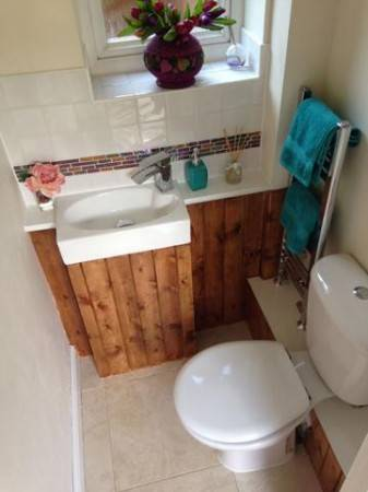 Small downstairs WC transformed, hand basin, tiled floor and around the basin, mini towel rail off the CH circuit, all concealed pipe work, bespoke build (Wantage - June 2016)